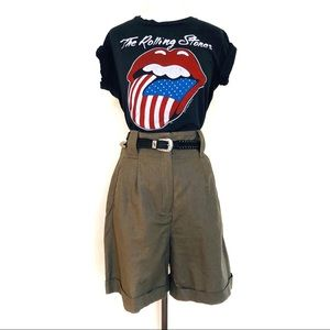Vtg High Waisted Culottes Long Nubby Cotton Shorts